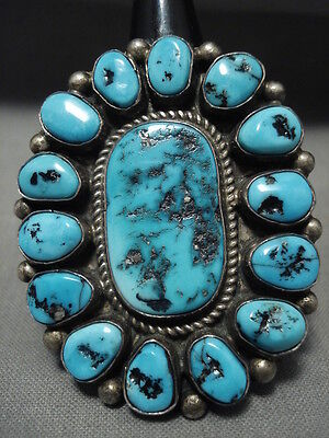 One Of The Largest Ever Vintage Navajo Old Sleeping Beauty Turquoise Silver Ring