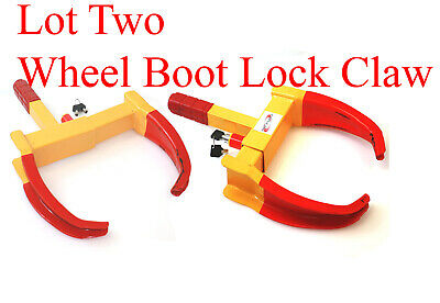 Lot 2 Same Key Wheel Lock Clamp Boot Tire Claw Trailer Car Anti-Theft Towing
