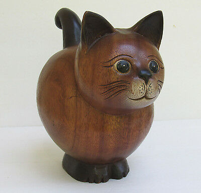 Vintage Hand Carved 1 Pc Solid Wood Plump Cat Painted Face & Details