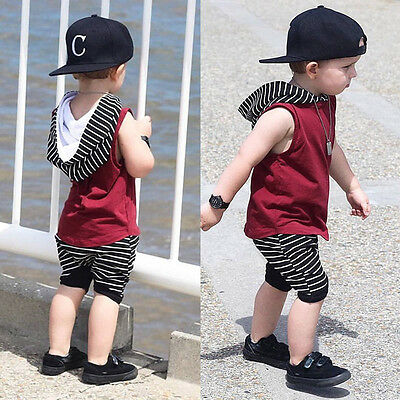 Toddler Kids Baby Boy Hooded Vest Tops Shirt Shorts Pants 2PCS Outfit Clothes US