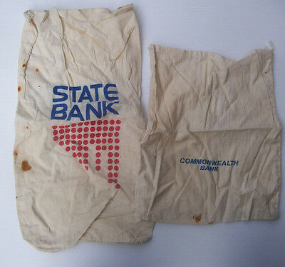 Vintage State Bank & Commonwealth Bank Money Bags - Coin Bags X 2