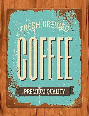 Tin Sign Fresh Brewed Coffee Cafe Kitchen Vintage Art Poster