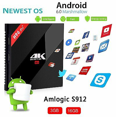 H96 4K HD S912 Octa core Android 7.1 3G+16GB Dual Wifi Smart TV Box Media Player
