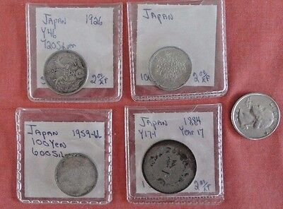 Japan  4 coin lot-- 3 are silver
