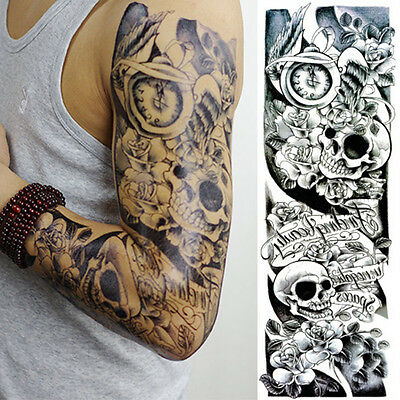 Women Men Punk Removable Fake Tattoo Sticker Waterproof Body Arm Art Tattoo