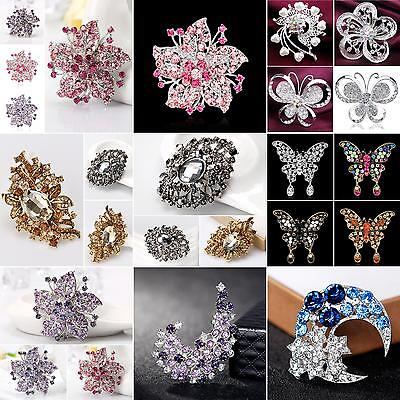 Women Vintage Rhinestone Flower Brooch Pin Dress Scarf Accessory Gift Mirable