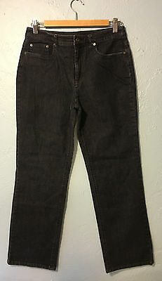 Talbots Stretch Womens Sz 6 Dark Wash Black Straight Cut Jeans Denim inseam 29