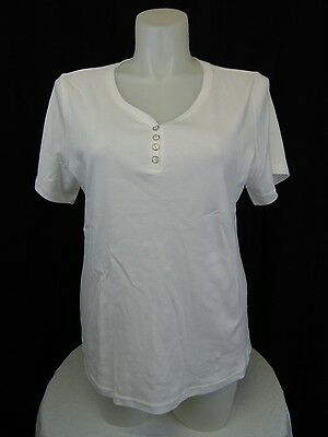 a2aa298fe0e Karen Scott Plus Size Short Sleeve Cotton Henley Tee Shirt 0X Bright White   4484