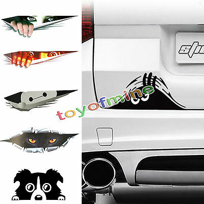 3D Funny Thriller Women Green Eyes Peeking Monster Peep Vinyl Decal Car Sticker
