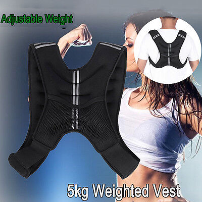 5kg Weighted Vest Adjustable Weight Vests Gym Crossfit Training Sports UK STOCK