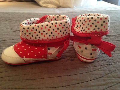 NEXT Red & White Baby Boots, 3-6 months