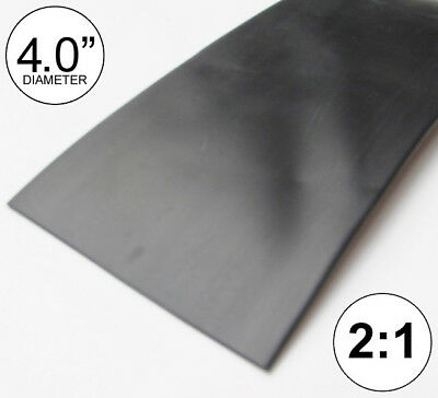 """4"""" ID Black Heat Shrink Tube 2:1 ratio 4.0"""" wrap (8 inches) foot/ft/to 100mm"""