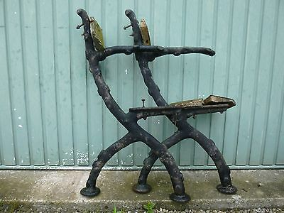 Antique Cast Iron Bench Ends. Rare- Tree Branch Vintage  Architectural Salvage