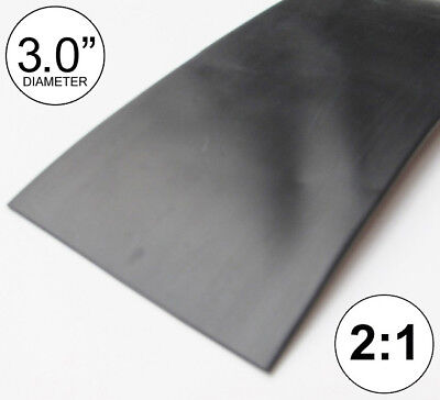 "(8 INCHES) 3.0"" Black Heat Shrink Tubing 2:1 Ratio feet/foot/ft/to U.S. 3"" 80mm"