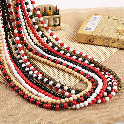 """New Plain Wood Beads Necklace 28"""" Long Hip-Hop Long Rosary Beaded Necklace Chain"""