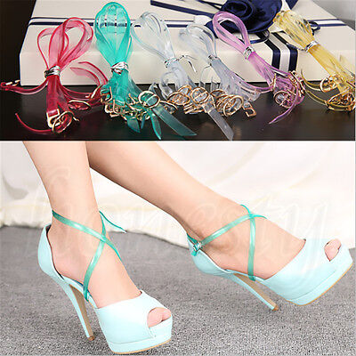 2x Detachable Shoe Straps Band 58cm Long For Holding Loose High Heels Shoes New