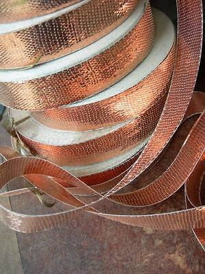 1 roll vintage French copper metallic lame woven ribbon 1920s