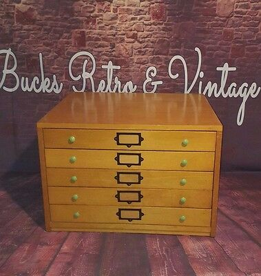 Vintage Retro Mid Century Wooden Architect 5 Chest Map Drawers