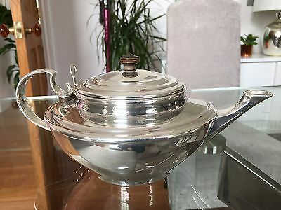 W.A.S. Benson silver-plated teapot (complete with strainer)