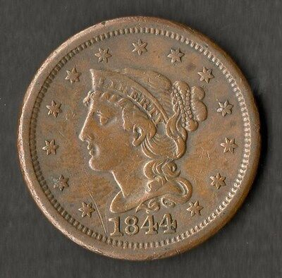 USA Large Size Copper One Cent 1844 VF+
