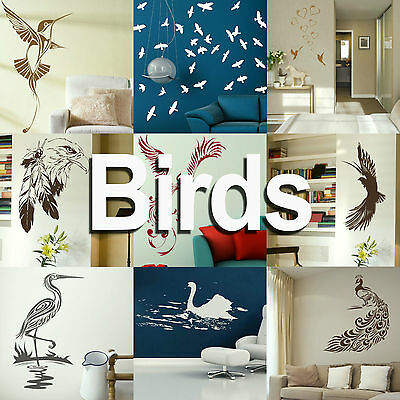Bird Wall Sticker! Giant Home Transfer Graphics / Birds Decal Decor Stencil Art