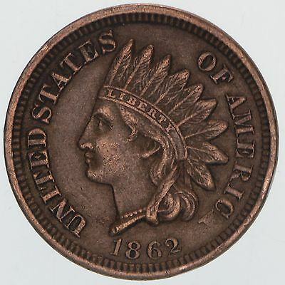 1862 Indian Head Cent Extra Fine Penny XF