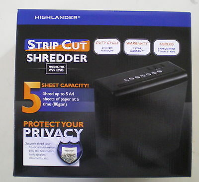 Highlander Strip Cut Shredder VS512SB