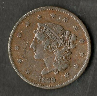 USA Large Size Copper One Cent 1839 GVF Booby Head No Line Under Cent