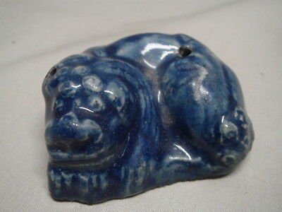 Old Chinese or Korean Blue Monochrome Glaze Lion Water Dropper