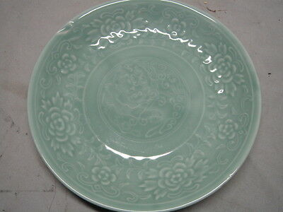 Old Korean Porcelain Plate w/ Celadon Glaze Mark under Glaze
