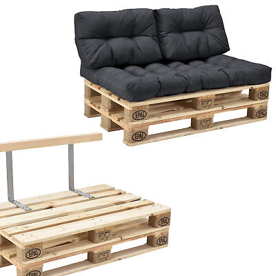 [en.casa] Euro Pallets Sofa Pillow Anthracite 2 Pallet Pad Backrest