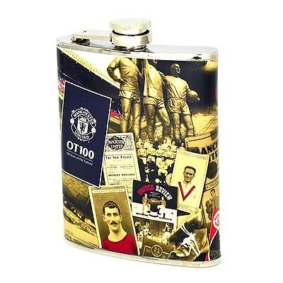 GIFT BOXED MANCHESTER UNITED FC RETRO 7oz HIP FLASK MAN UTD