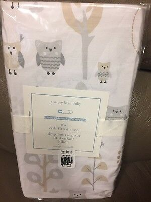 1 Pottery Barn Kids Owl Tree Fitted Crib Sheet Grey Gray New