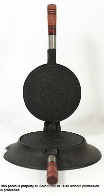 ANTIQUE WAFFLE COOKIE IRON PRESS w/ STAND Floral Pattern