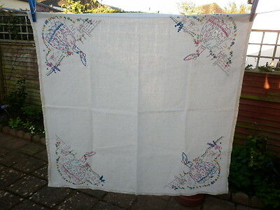 Vintage Hand Embroidered Crinoline Ladies in Gardens Tablecloth
