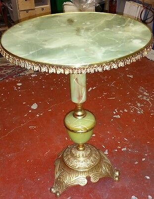 French Marble Onyx Style Embossed Gilt Brass Occasional Coffee Table