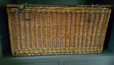 Antique Wicker Ratton Streamer Trunk- XL - RARE - French