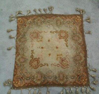 Antique 19th C Loomed Textile With Hand Made Tassles Tapestry Style 31x32""