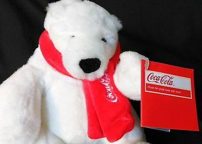 "Coca Cola White Polar Bear Plush 2011 With Red Scarf 7"" New With Tag Attached"