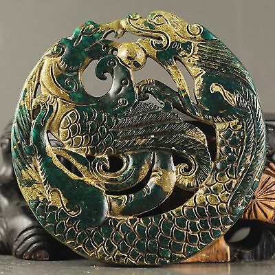 Old Chinese natural jade hand-carved statue of dragon and phenix pendant NO.Y881