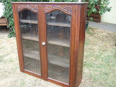 Antique Oak Wood Cabinet/Book/DisplayGlass Fronted