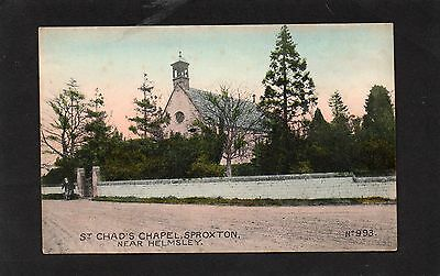 Old postcard St Chad's Chapel, Sproxton, Helmsley early 1900s.