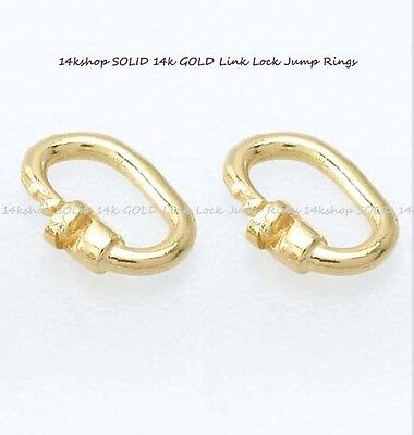 2  14K SOLID Yellow GOLD Oval LINK LOCK 6mm x 4.7mm Jump Ring Rings Findings NEW
