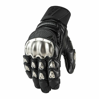 Icon Timax Short Leather Titanium Motorcycle Motorbike Gloves - Black
