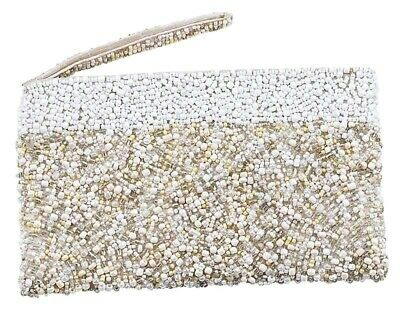 White beaded handbag zip top clutch handle clear beads bridal accessory prom