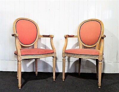 Antique style pair of balloon back salon carver easy arm chairs - armchairs