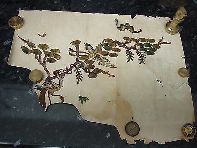 Vintage Antique Silk? Chinese? 2 X Appliques Birds In Tree On Backing Paper