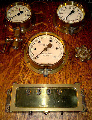 """C1882 Victorian Beam Engine """"Stroke Counter"""" & Gauges from Pump Station"""