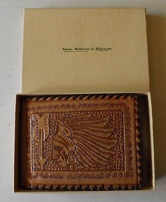 Old Vintage Tooled Leather Indian Chief Wallet Mint in Box - Buffalo New York