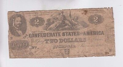 Confederate Currency Civil War era item  one old note low grade